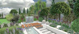 Contemporary garden stream design